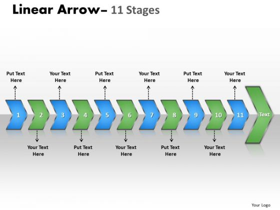 Business Diagram Linear Arrow 11 Stages Sales Diagram