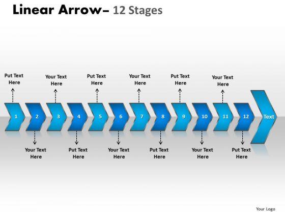 Business Diagram Linear Arrow 12 Stages Sales Diagram
