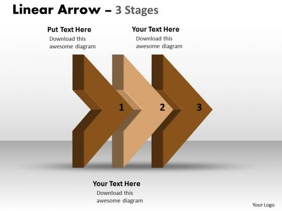 Business Diagram Linear Arrow 3 Stages Strategy Diagram