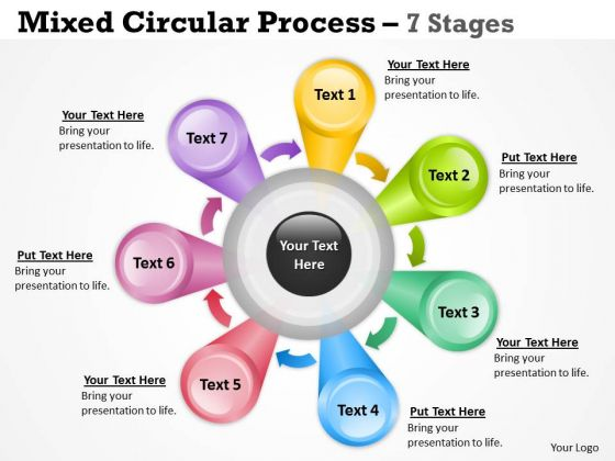 Business Diagram Mixed Circular Process For Sales 7 Stages Consulting Diagram