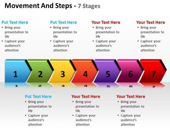 Business Diagram Movement And Steps 7 Stages Sales Diagram