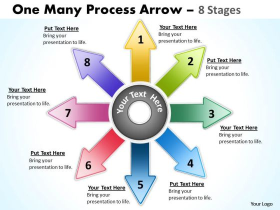 Business Diagram One Many Process Arrow 8 Stages Business Framework Model