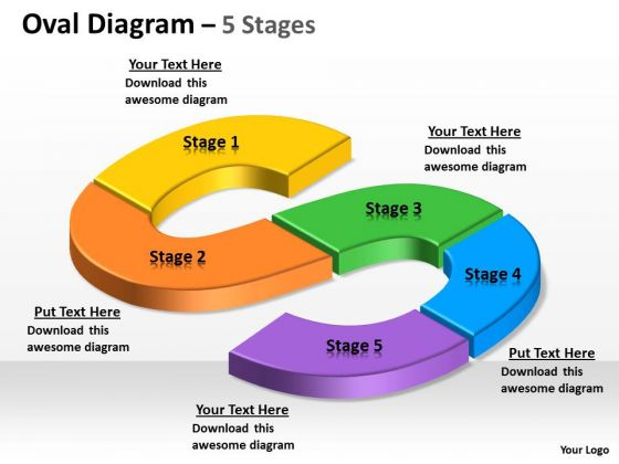Business Diagram Oval Process 5 Step Marketing Diagram