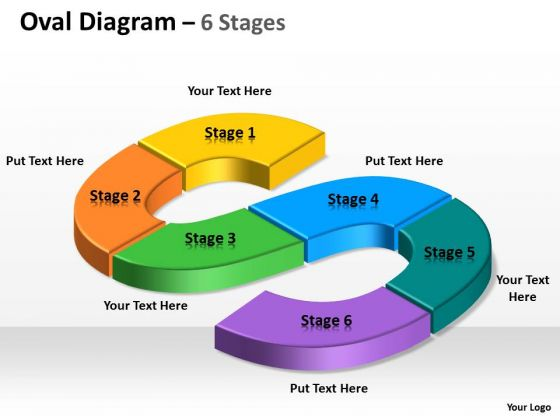 Business Diagram Oval Process 6 Step Sales Diagram