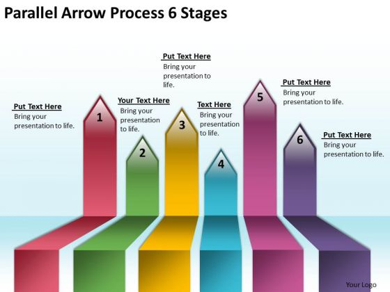 Business Diagram Parallel Arrow Process 6 Stages Strategy Diagram