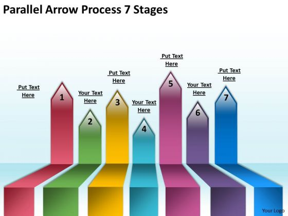 Business Diagram Parallel Arrow Process 7 Stages Business Finance Strategy Development