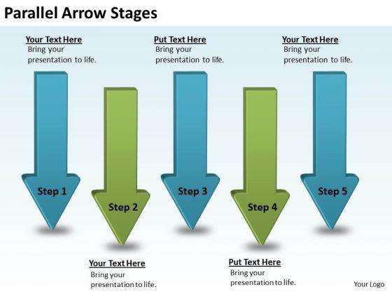 Business Diagram Parallel Arrow Stages Strategic Management