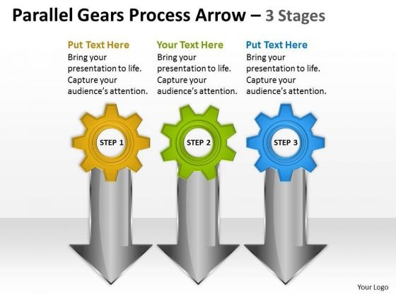 Business Diagram Parallel Gears Process Arrow 3 Stages Consulting Diagram