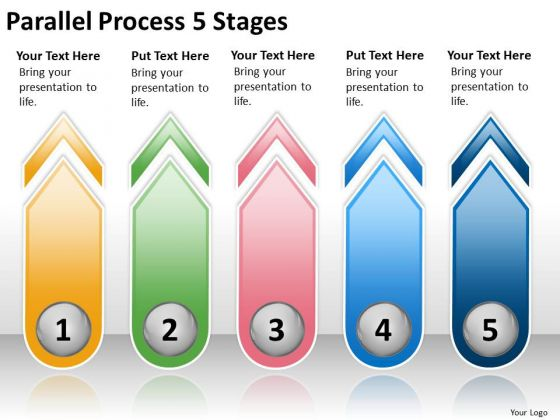 Business Diagram Parallel Process 5 Stages Strategy Diagram