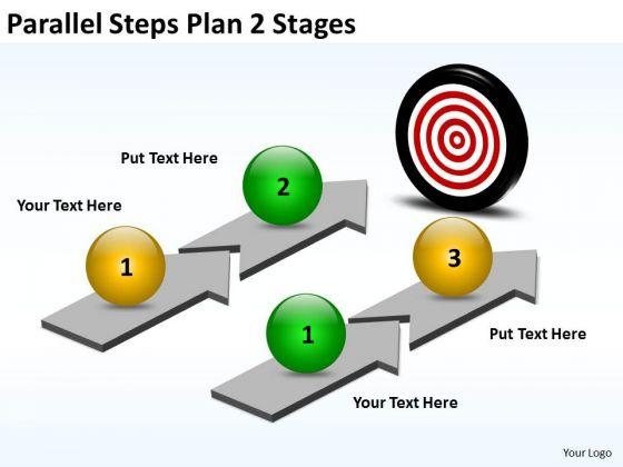 Business Diagram Parallel Steps Plan 2 Stages Sales Diagram