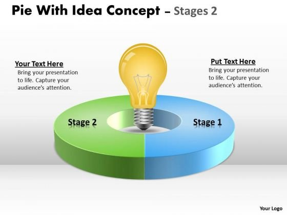 Business Diagram Pie With Idea Concept Stages Marketing Diagram