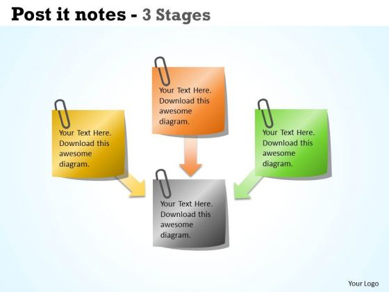 Business Diagram Post It Notes 4 Stages Sales Diagram