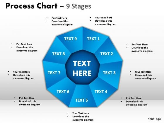 Business Diagram Process Chart 9 Stages Sales Diagram