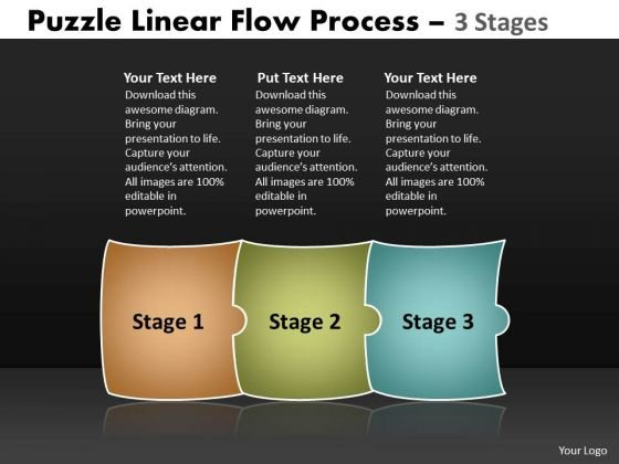 Business Diagram Puzzle Linear Flow Process 3 Stages Sales Diagram