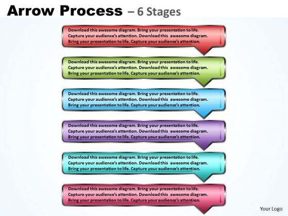 Business Diagram Rectangle Arrow 6 Steps Strategy Diagram