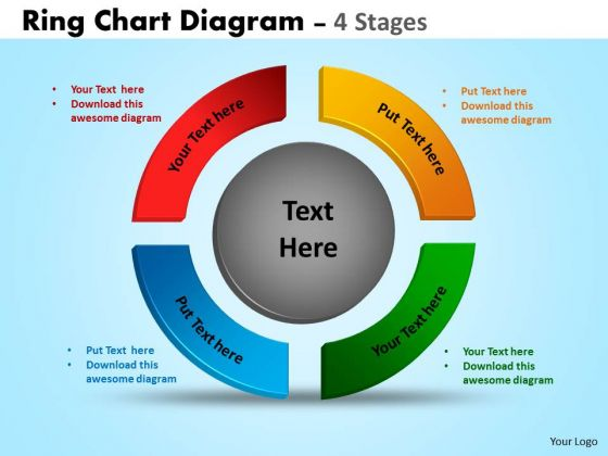 Business Diagram Ring Chart Diagram 4 Stages Strategic Management