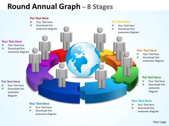 Business Diagram Round Annual Graph 8 Stages Business Finance Strategy Development