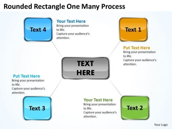 Business Diagram Rounded Rectangle One Many Process Business Framework Model