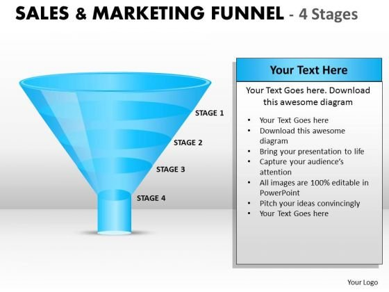 Business Diagram Sales And Marketing Funnel With 4 Stages Sales Diagram