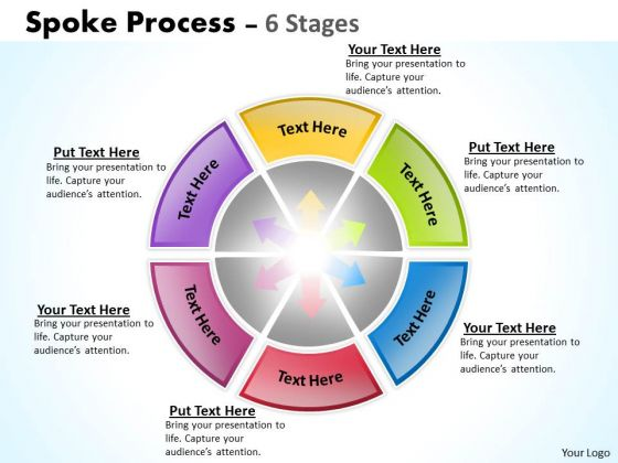 Business Diagram Spoke Process 6 Stages Marketing Diagram