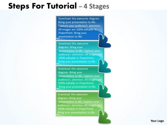 Business Diagram Steps For Tutorial 4 Stages Strategy Diagram