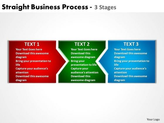 Business Diagram Straight Business Process 3 Stages Mba Models And Frameworks