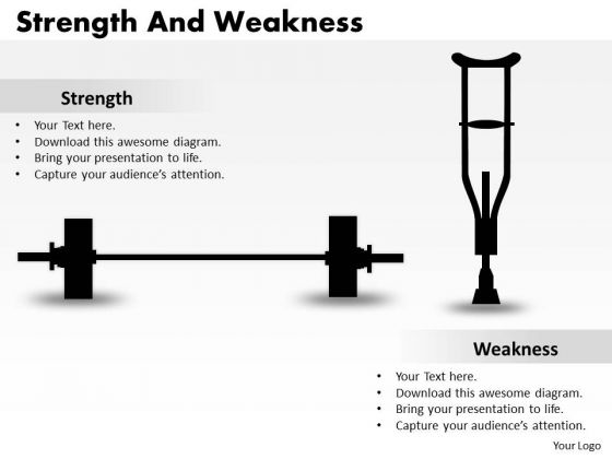 Business Diagram Strength And Weaknesses Sales Diagram