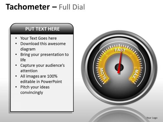 Business Diagram Tachometer Full Dial Sales Diagram