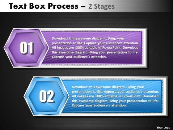 Business Diagram Text Box 2 Step Strategy Diagram