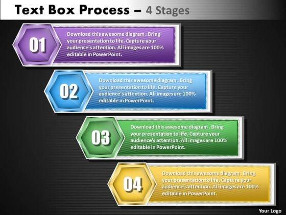 Business Diagram Text Boxe Process 4 Step Sales Diagram