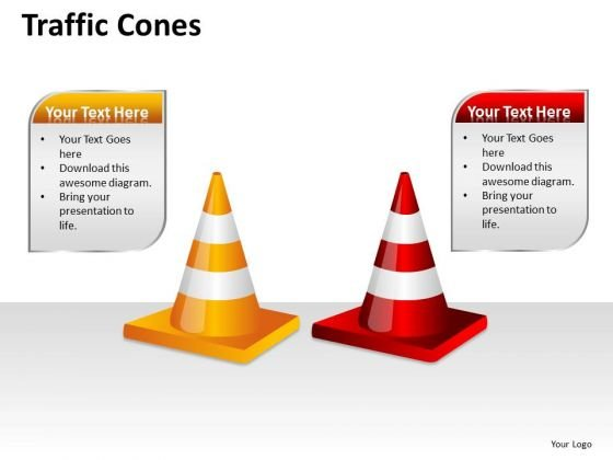 Business Diagram Traffic Cones Business Framework Model