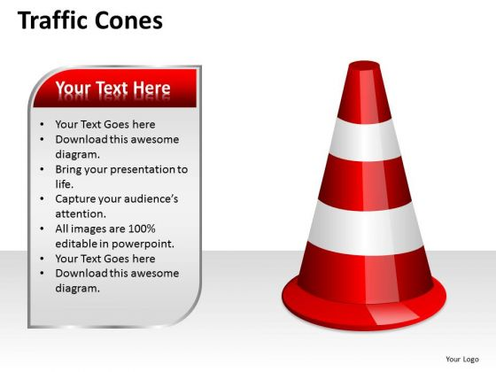 Business Diagram Traffic Cones Strategic Management