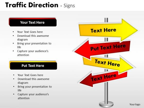 Business Diagram Traffic Direction Signs Business Finance Strategy Development