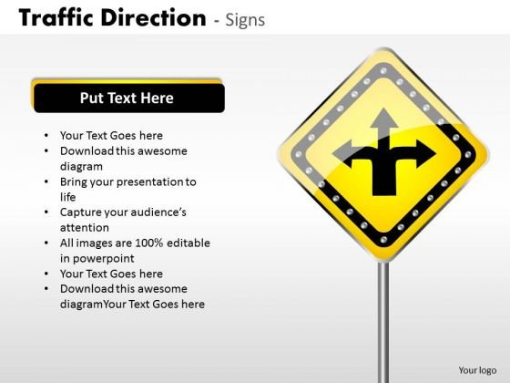 Business Diagram Traffic Direction Signs Strategic Management