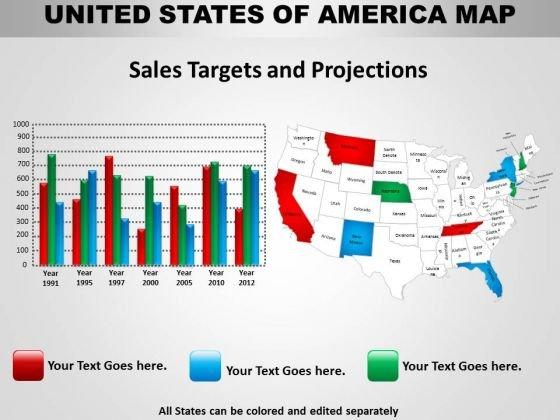 Business Diagram Usa Country Maps Strategic Management