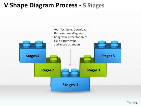Business Diagram V Shape Diagram Process 5 Stages Strategic Management