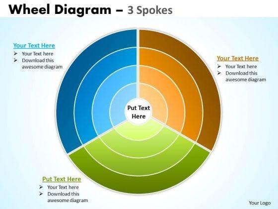 Business Diagram Wheel Diagram 3 Spokes Sales Diagram