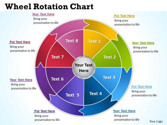 Business Diagram Wheel Rotation Chart 6 Strategic Management
