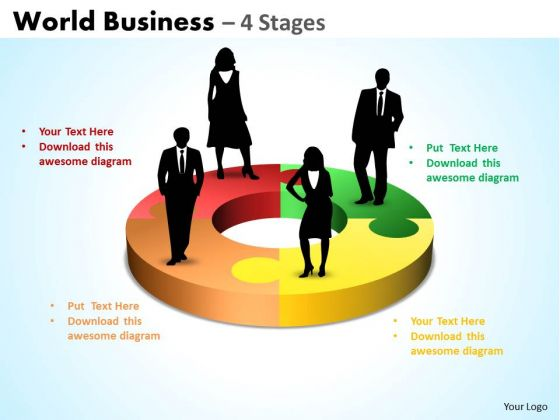 Business Diagram World Business 4 Diagram Stages Marketing Diagram