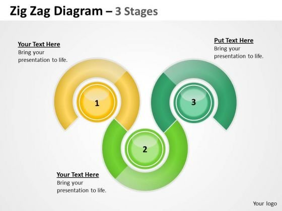 Business Diagram Zig Zag 3 Stages Marketing Diagram