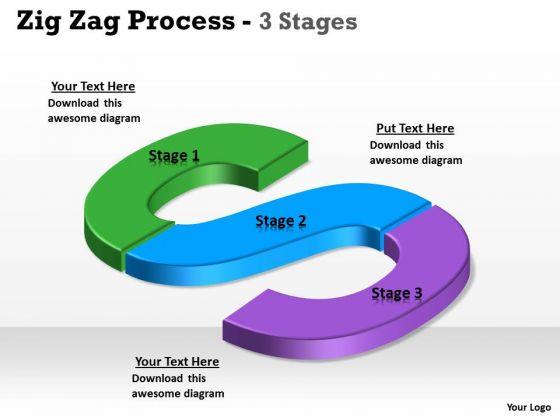 Business Diagram Zig Zag 3 Step Marketing Diagram