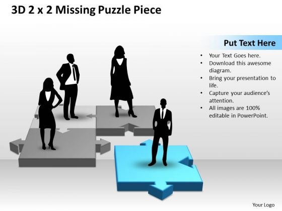 Business Finance Strategy Development 3d 2x2 Missing Puzzle Piece With Persons Sales Diagram