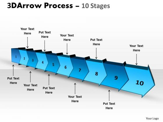 Business Finance Strategy Development 3d Arrow Process 10 Stages Strategy Diagram