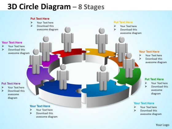 Business Finance Strategy Development 3d Circle Diagram 8 Stages Business Diagram