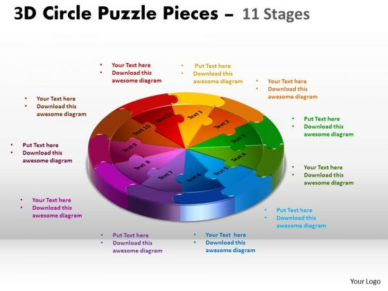 Business Finance Strategy Development 3d Circle Puzzle Diagram 11 Stages Marketing Diagram