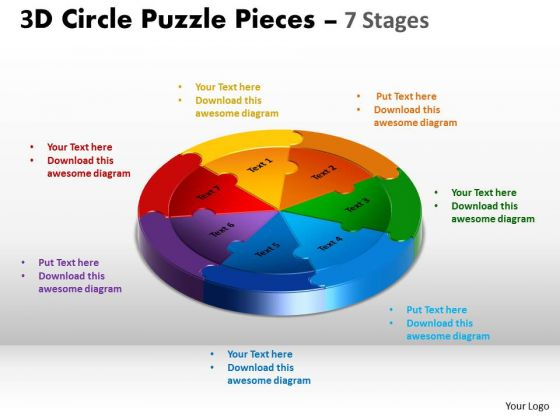 Business Finance Strategy Development 3d Circle Puzzle Diagram 7 Stages Sales Diagram