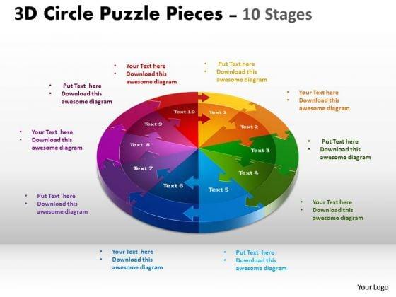 Business Finance Strategy Development 3d Circle Puzzle Diagram Sales 10 Stages Diagram
