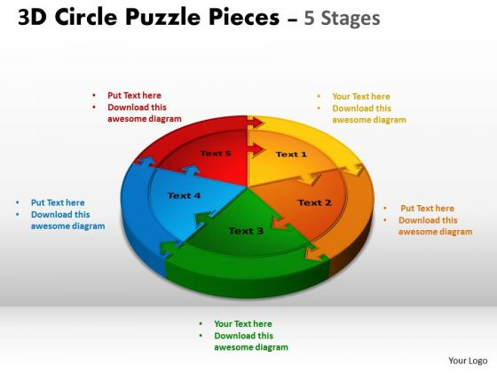 Business Finance Strategy Development 3d Circle Puzzle Templates Diagram 5 Stages Business Diagram