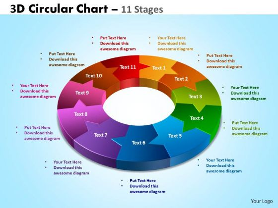 Business Finance Strategy Development 3d Circular Chart 11 Stages Business Diagram