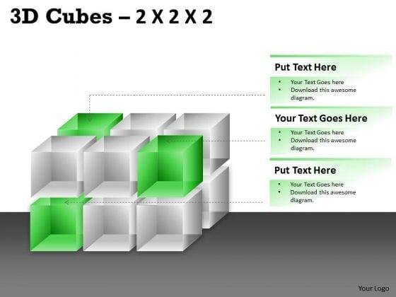 Business Finance Strategy Development 3d Cubes 2x2x3 Sales Diagram